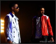 Diggy and Jacob on Stage Jacob Latimore, Red Leather, Leather Jacket, Bae, Jackets, Fashion, Studded Leather Jacket, Down Jackets, Moda