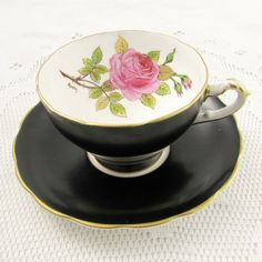 Staffordshire Black Tea Cup and Saucer with Pink Rose, Signed by Artist, Vintage Tea Cup, Bone China Antique Tea Cups, Vintage Cups, Vintage Tea, Bone China Tea Cups, Gold Cup, Cup And Saucer Set, Pink Flowers, Tea Party, Rose