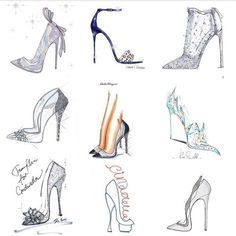 Disney made to order Cinderella shoes contact me for details very limited Fashion Painting, Fashion Art, Pictures Of Shoes, Cinderella Shoes, Disney Shoes, Fashion Vector, Shoe Sketches, Creative Shoes, Figure Sketching