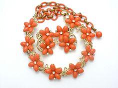 Lisner Orange Flower Necklace Earrings Rhinestone Set Vintage Floral Jewelry #Lisner #Flower