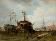 Portsmouth Harbour, the Hulks - Edward William Cooke