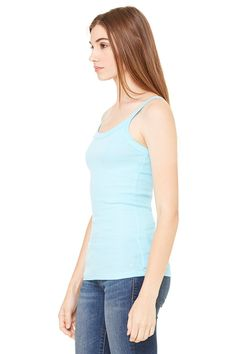 56e570f9dd08f Zara Yoga Studio LA Womens Sheer Mini Rib Thin Strap Tank Large Light Aqua   gt