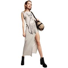 Gray Casual Womens Slit Cat Printed Sleeveless Midi Dress (£20) ❤ liked on Polyvore