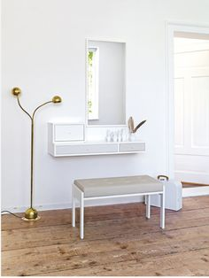 2. White wall mounted dressing table
