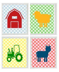 Farm Nursery Wall Art Print Set- Barn Tractor Cow Sheep Gingham Pattern 4 8x10 - Children Kid Room Home Decor Wall Art Nursery