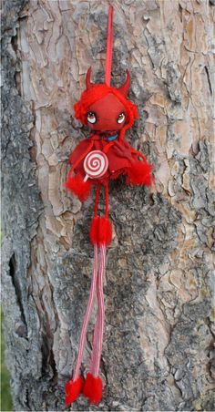 Devil Doll Halloween Ornament---Wooden Handmade Halloween Hangy Candy Doll Lolly Pop