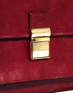Image 4 ofASOS Leather Vintage Style Lock Cross Body Bag