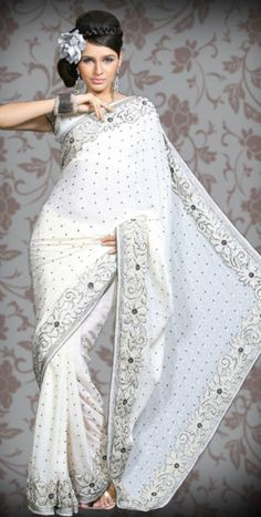 white saree, my all time fav Indian outfit