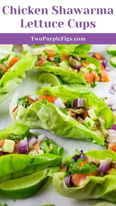 Craving succulent flavorful Chicken Shawarma? Serve these Chicken Shawarma Lettuce Cups as an easy healthy chicken recipe that packs all the flavors and spices of shawarma while still being low-carb and guilt-free! Best Dinner Recipes, Side Recipes, Lunch Recipes, Gourmet Recipes, Beef Recipes, Vegetarian Recipes, Healthy Recipes, Easy Baked Chicken, Healthy Chicken Dinner