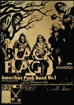 "Canvas Giclees & Fine Art Prints by Annex Reproduction Black Flag 80's German Show Poster with the Minutemen This is a gallery wrapped canvas print that comes on a 1.25"" stretcher bar & is ready to ha"