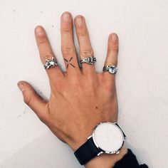 even Ben Nordberg's hand is attractive - Larsson and Jennings watch with The Great Frog rings