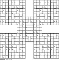Here we go - Killer Samurai with full (quad) symmetry! The first step (innies and outies) in solving it is here. Magic Squares, Challenging Puzzles, Maths Puzzles, Samurai, Quad, Games, Crafts, Exercises, Manualidades