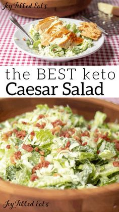 The BEST keto Caesar Salad - Low Carb Keto THM S Gluten-Free Grain-Free - How to make keto Caesar salad dressing just mix together 4 simple ingredients and season with salt and pepper My makes this for dinner for us at least once a week without any help Salad Recipes Low Carb, Diet Recipes, Healthy Recipes, Caesar Salad Recipes, Dinner Salad Recipes, Salad Recipes With Bacon, Best Low Carb Recipes, Best Salad Recipes, Tuna Recipes