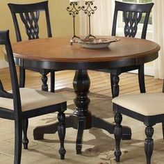 Ladder Back Chairs For Dining Table Like The Two Tone With The - Two tone round pedestal dining table