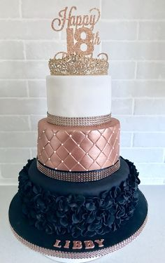 Rose gold and black ruffle birthday cake with a rose gold tiara (detach. Rose gold and black ruffle birthday cake with a rose gold tiara (detach. Sweet 16 Birthday Cake, Beautiful Birthday Cakes, 21st Birthday Cakes, Beautiful Cakes, Birthday Parties, Black And Gold Birthday Cake, Birthday Cake With Roses, 18th Birthday Dress, Black And Gold Cake