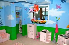 Fun painting on a kids room walls
