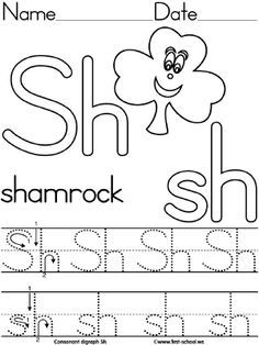 Consonant Digraph Sh Shamrock lesson plan printable activities & crafts. Available in two handwriting fonts Standard block (ZB) and modern manuscript > (DN).