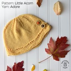 Little Acorn is designed by Anita Closic in Universal Yarn Adore. A cute topper sized from baby to adult. Little Acorns, Universal Yarn, Knit In The Round, Winter Gear, Stockinette, Scalloped Lace, Baby Size, Baby Knitting Patterns, Knitted Hats
