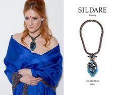 Blue Swarovski crystal jewelry fashion necklace Black by SILDARE, $320.00