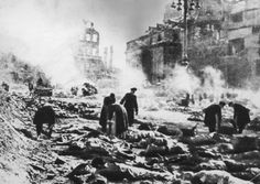 What Was the Firebombing of Dresden?: Bodies in the street after the Allied fire bombing of Dresden, Germany, (February 1945)
