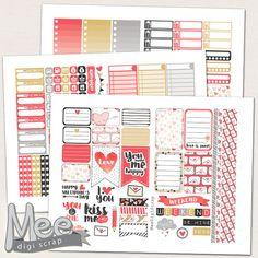 Valentines day planner stickers for Mambi Happy planner,PRINTABLE planner stickers,February sticker kit,weekly planner sticker set,red heart by MeeDigiScrap on Etsy