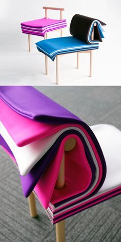 The Pages Chair designed by the Japan design studio 6474 is directly inspired from Books. Made by wood and cushion. User can flip the thickness of chair seat that is suitable for them. stub tenon joints and screw joint to made assemble this chair. Funky Furniture, Furniture Design, Furniture Stores, Japanese Furniture, Cheap Furniture, Discount Furniture, The Design Files, Cool Inventions, Deco Design