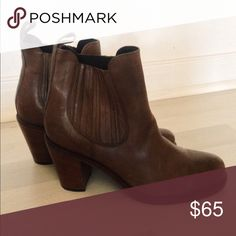 Brown Ankle Booties Italian leather brown booties, made in Italy. Never worn, perfect condition. Shoes Ankle Boots & Booties