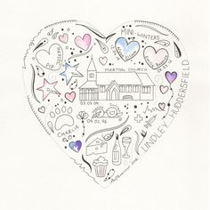 Memory hearts.  A beautiful hand drawn heart designed and created on a personal and individual basis. Simple give me as much detail as you