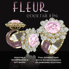 Second Life Marketplace - DEMO - Exquisite Fleur Pink Cocktail Ring