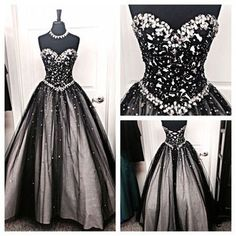 Black A-Line Sweetheart Sleeveless Lace-up Floor-Length Tulle Prom Dresses 2017 White Ball Gowns, Lace Ball Gowns, Ball Gowns Prom, Ball Gown Dresses, Party Dresses, Wedding Dresses, Bridal Gowns, Bridal Corset, Tulle Wedding