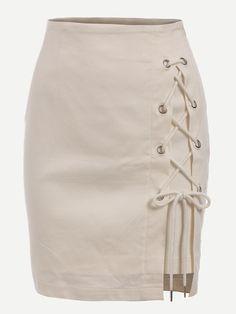 Eyelet Lace-Up Skirt - White
