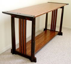 Minimalism meets art & crafts design in this hall table in solid Macassar ebony and figured bubinga. Iron Furniture, Furniture Legs, Plywood Furniture, Fine Furniture, Arts And Crafts Furniture, Handmade Furniture, Furniture Projects, Furniture Design, Carpentry And Joinery