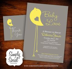 Little Bird Baby Shower Invitation and by SimplySocialDesigns