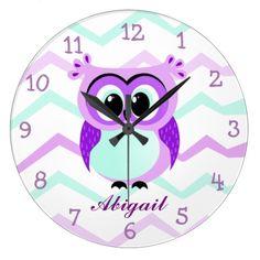 Purple and lilac baby owl cartoon large clock