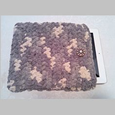 Chenille 10 Inch Tablet iPad Cover with Vintage Button, Hand Crocheted Tablet Sleeve, Gray, #SS-B10-1, Washable, Free Domestic Shipping by AnchorLineVintage on Etsy