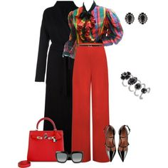 outfit 4986 by natalyag on Polyvore featuring Oscar de la Renta, Unravel, WearAll, RED Valentino, Hermès, Marc Jacobs, Gucci and Anne Klein