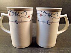 Mikasa Annette Intaglio Cappuccino Mugs CAC20 TWO EXCELLENT! #Mikasa
