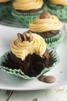 Chocolate stout cupcakes with peanut butter frosting - perfect for St Patrick's day, or any day!