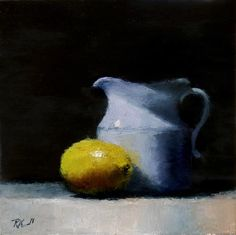"""Daily Paintworks - """"Pitcher and Lemon"""" - Original Fine Art for Sale - © Bob Kimball"""