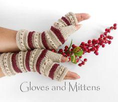 Beige and Maroon Fingerless Hand Warmers Wrist by GlovesAndMittens