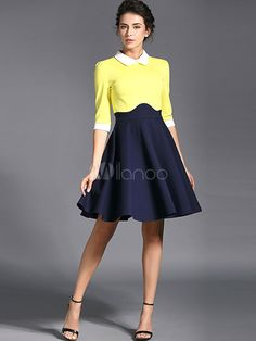 Color Block Spread Neck 3/4 Length Sleeves Pleated Party Dress