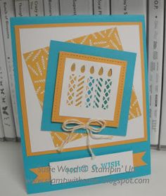 Stampin' Up!- What a cute birthday card with these candles from the Window Box Thinlits Dies & the coordinating Window Shopping stamp set!!