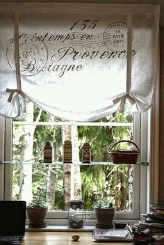 French Script Window Treatment Reminds Me Of The Bathroom At Grandma Moms House Oh How I Miss That