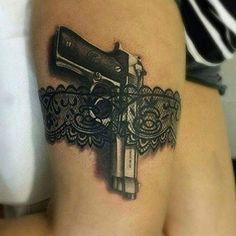 Gun 3d Tattoo Designs For Girls