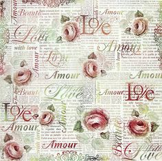Ricepaper/ Decoupage paper, Scrapbooking Sheets /Craft Paper Love Letter