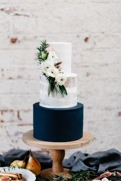 Elegant Wedding Cake | Industrial Candlelit Winter Wedding Inspiration | Eliza Tootsweet Bridal Gown | Delicate Flowers | Flower Intallation | Sophia Veres Photography