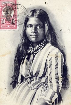 A woman identified as being of half African, half Indian descent from Martinique, beautiful. Vintage, circa 1910.  Photo in the private collection of Sarah Partridge, all rights reserved. Contact: sweetpeabrooklyn@yahoo.com