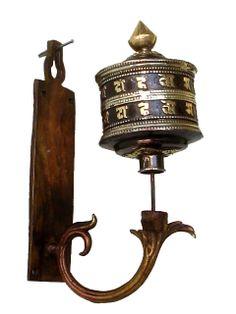 Copper and Brass Om Mani Padme Hum Wall-Mounted Prayer Wheel - Mandala Trading