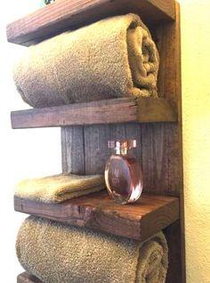 Mensola da bagno porta asciugamani in legno 35x60x20