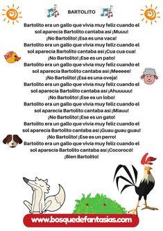 cancion infantil bartolito Spanish Lessons For Kids, Spanish Class, Spanish Songs, Spanish Quotes, Baby Songs, Kids Songs, Poetry For Kids, Preschool Songs, Ciri